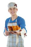 Cook. With the pastry on a white background Stock Photos