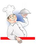 Cook. Insisting professional. The bright representative is of cooks. By gera on binder menu. The positive emotion of picture made by hand Royalty Free Stock Photo