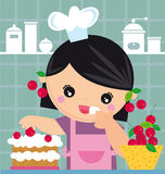 Cook. Illustration of little girl and cake