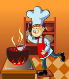 Cook. Happy cook with a lable in the kitchen vector illustration