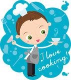 Cook. Illustration of young cook with plate on the blue background vector illustration