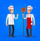 Cook baker cooking bread icon bakery background  flat design vector illustration Royalty Free Stock Images