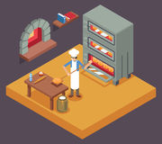 Cook baker cooking bread isometric icon on bakery background flat design vector illustration Royalty Free Stock Images