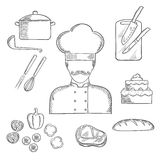 Cook or baker profession hand drawn elements Stock Photo
