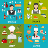 Cook, baker, waitress and barman professions Royalty Free Stock Images