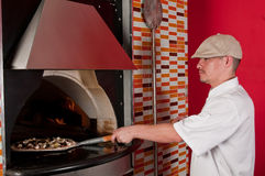 Cook baking pizza Royalty Free Stock Photo