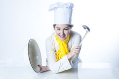 Cook with big bowl and pan Royalty Free Stock Photo