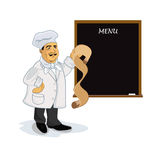 Cook with blank recipe menu chalkboard, vector illustration Stock Photo