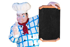 Cook with blank sign. A statue of a cook with a blank sign Royalty Free Stock Image