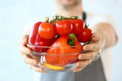 Cook Blogger Holding Red Vegetables Assortment. Fresh and Ripe Tomatoes, Pepper and Yellow Chili in Bowl. Chef Holding Ingredients in Hands. Culinary Recipe stock image