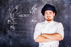 Cook on board background chalk Royalty Free Stock Photo