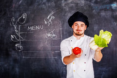 Cook on board background chalk Stock Image