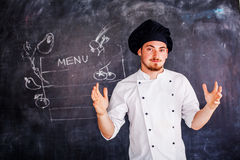 Cook on board background chalk Stock Photo