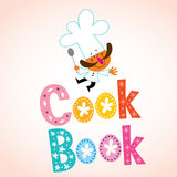 Cook book decorative lettering with chef character Royalty Free Stock Photo