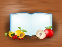 Cook book with fruit Stock Images