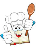 Cook book mascot thumb up wooden spoon isolated Royalty Free Stock Images