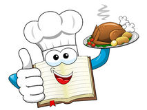 Cook book mascot wearing hat serving roasted turkey isolated. Cook book mascot wearing hat and serving roasted turkey isolated Stock Photography