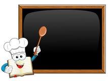 Cook book mascot wooden spoon blank blackboard  Stock Photos
