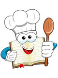Cook book mascot wooden spoon isolated Stock Image