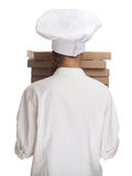 Cook with boxes of pizza Royalty Free Stock Photography