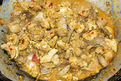 After cook braising meat in an old frying pan Stock Images