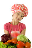 Cook with bunch of vegetables Royalty Free Stock Images
