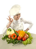 Cook with bunch of vegetables Stock Photos