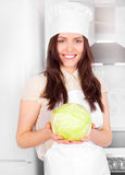Cook with cabbage Royalty Free Stock Images