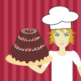 Cook with cake Stock Photo