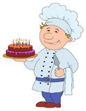 Cook with cake. Cook with pie, restaurant waiter with cake, funny character Royalty Free Stock Photography