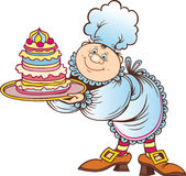 Cook with cake Royalty Free Stock Photo