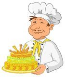 Cook with cake. Cook with beautiful sweet holiday cake, isolated Royalty Free Stock Images
