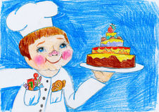 Cook and cake, child drawing on paper, birthday and holiday concept Stock Image