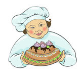 Cook with cake. Pie. Isolated vector illustration, hand drawing Stock Image