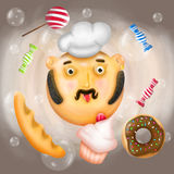 The cook among candies, sweets and big soap bubbles. Royalty Free Stock Image