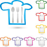 Cook cap and Eat cutlery, restaurant and cook logo Stock Image