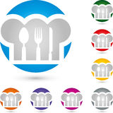 Cook cap and Eat cutlery, restaurant and cook logo Stock Photos