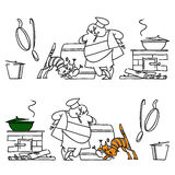Cook and a cat. Kitchen. Set Stock Photo