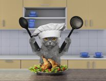 Cook cat sitting in the kitchen. And going to eat stock illustration