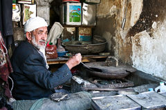 Cook in the center of Sanaa (Yemen). Royalty Free Stock Photography