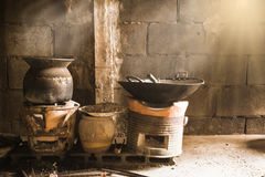 Cook with charcoal. Kitchen Thai traditional charcoal burning cl. Kitchen charcoal Thai Royalty Free Stock Image