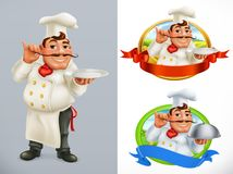 Cook, Chef. Character and label. vector icon set. Cook, Chef. Character and label. 3d vector icon set stock illustration