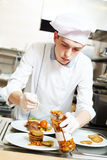 Cook chef with food in kitchen Stock Photos