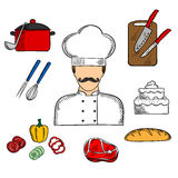 Cook or chef with food and kitchenware Royalty Free Stock Image