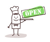 Cook chef with open sign Royalty Free Stock Photo