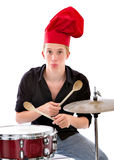 Cook chef palying drums. White background Royalty Free Stock Image