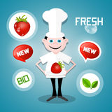 Cook - Chef with Strawberry and Fresh, New, Bio Icons Royalty Free Stock Photos