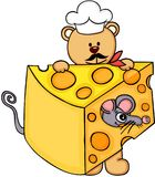 Cook chef teddy bear holding slice of cheese with mouse Stock Photos