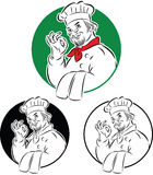 Cook chef. Vector illustration of cook chef holding dishtowel doing excellent sign Stock Image