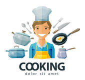 Cook, chef vector logo design template. cooking or Royalty Free Stock Photos